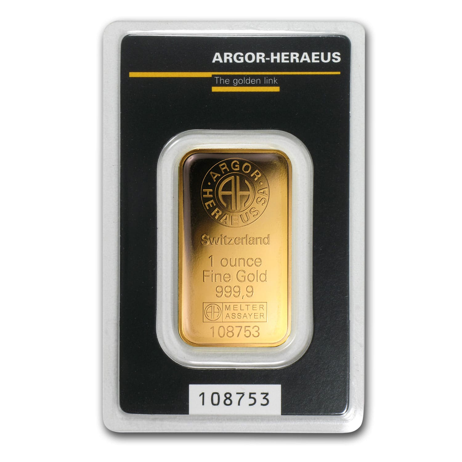 1 oz Gold Bar - Argor-Heraeus KineBar Design (In Assay)